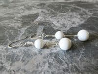 White Tridacna Clam Shell Pearls & Sterling Silver Long Earrings | Silver Sensations